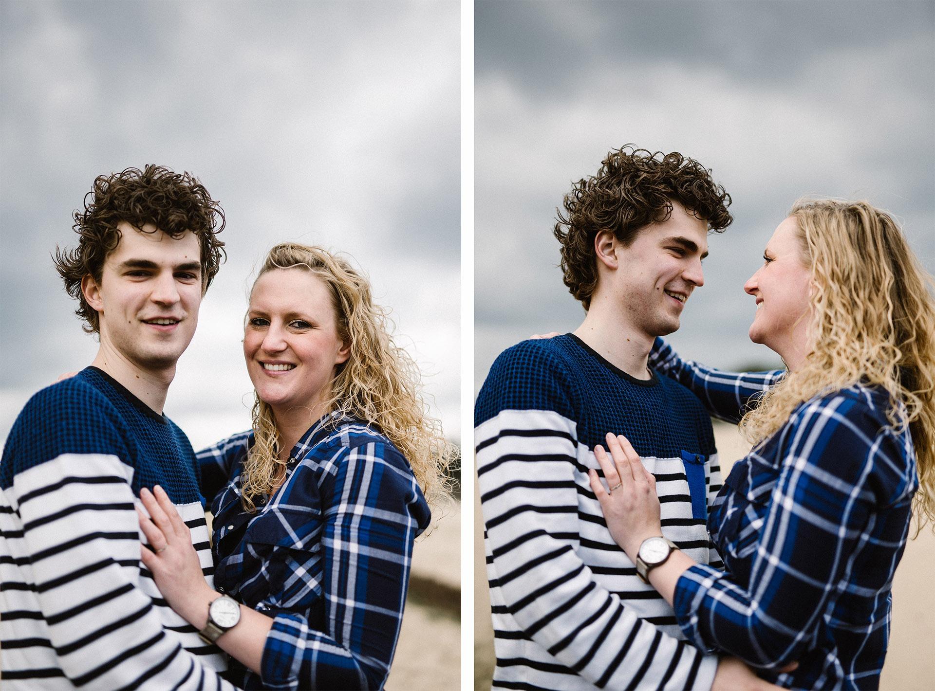 Twee verschillende foto's tijdens een loveshoot